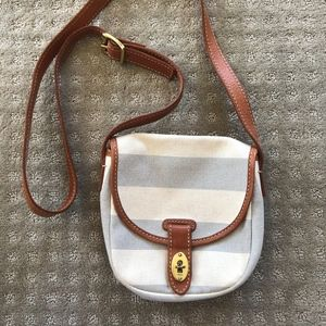 Fossil Gray and White Striped Crossbody Bag